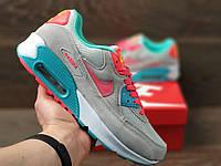 Кросівки жіночі в стилі    Nike Air Max 90  сірі з червоним\мятні