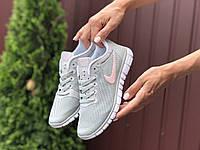 Кросівки жіночі в стилі   Nike Free Run 3.0  світло сірі з рожевим