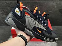 Кросівки чоловічі в стилі Nike Zoom 2K  темно сині з сірим\помаранчеві