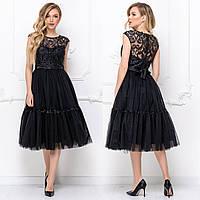 """Коктейльное платье черное с пышной юбкой """"Бизе"""", фото 1"""