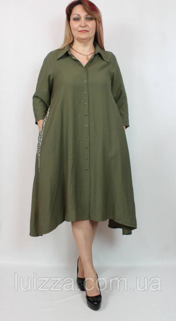 Сукня з асиметрією і малюнком Cadrelli (Туреччина) 52 - 64р колір хакі