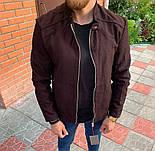 Мужская классическая куртка осень-весна с воротником бордовая Турция. Фото в живую. Чоловічі куртки, фото 4