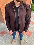 Мужская классическая куртка осень-весна с воротником бордовая Турция. Фото в живую. Чоловічі куртки, фото 8