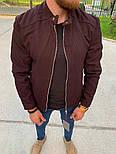 Мужская классическая куртка осень-весна с воротником бордовая Турция. Фото в живую. Чоловічі куртки, фото 7