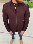 Мужская классическая куртка осень-весна с воротником бордовая Турция. Фото в живую. Чоловічі куртки, фото 5