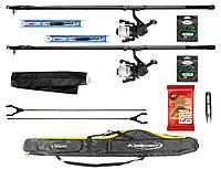 """Набір риболовний все в одному - дві карбонові вудочки """"Карась"""", з чохлом, довжина 4м, для ловлі мирної риби"""