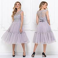 """Сукня коктейльне святкове пишне срібло """"Бізе"""", фото 1"""