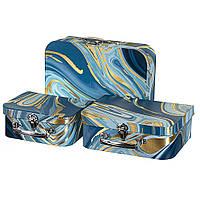 """Подарочные коробки - чемоданчики  """"Синие краски"""" 3 шт. в наборе, фото 1"""