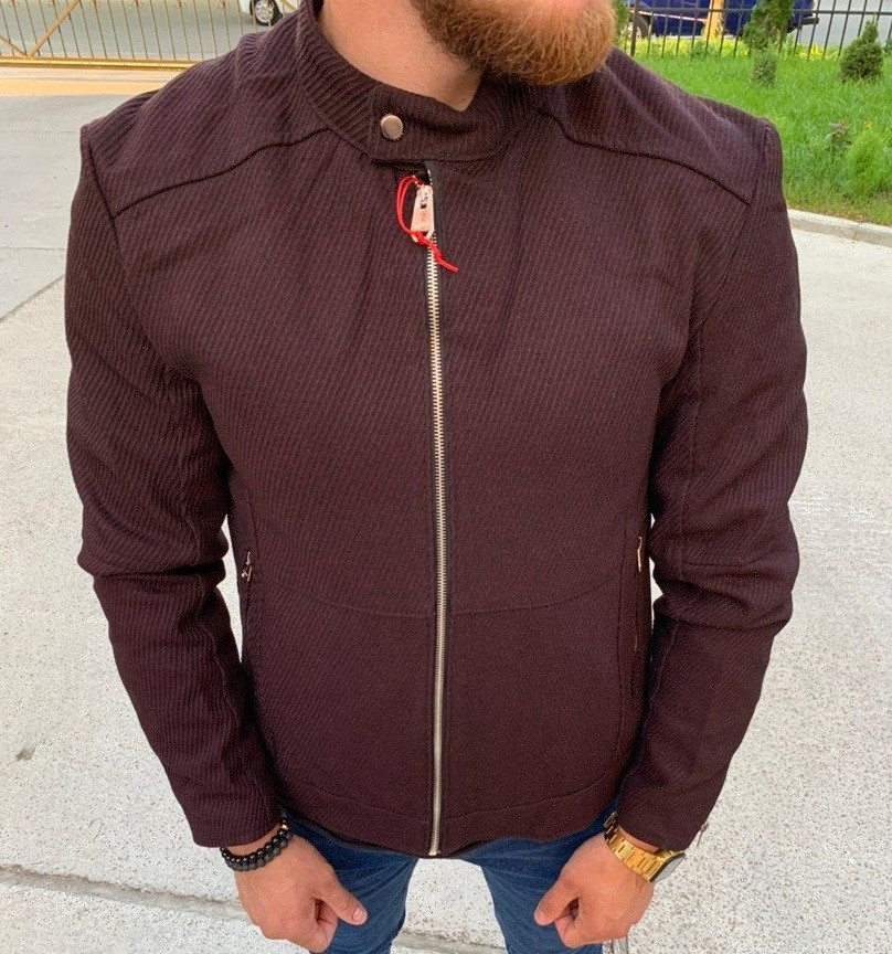 Мужская классическая куртка осень-весна с воротником бордовая Турция. Фото в живую. Чоловічі куртки