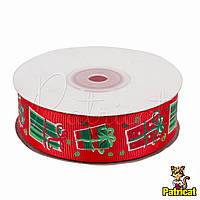 Лента репсовая Новогодняя Красная 2.5 см