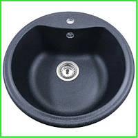Кухонная круглая гранитная мойка Aqua BLACK / диаметр 490
