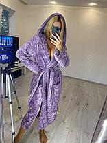 Женский короткий теплый махровый халат с капюшоном в цветок, фото 3