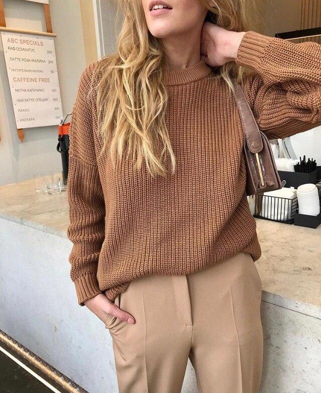 Женский теплый вязаный свитер с длинным рукавом