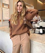 Женский теплый вязаный свитер с длинным рукавом, фото 2