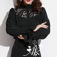 Черная и белая шифоновая рубашка с гипюровыми вставками 79mru375, фото 1