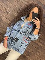 Женская джинсовая куртка оверсайз с принтами 76mku316, фото 1