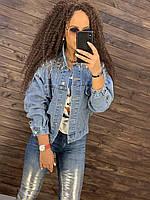 Короткая джинсовая куртка женская свободная с пайетками и бахрамой на плечах 76mku317, фото 1