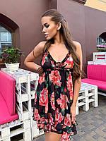 Шифоновый летний сарафан в цветочный принт с завышенной талией 60mpl1522, фото 1