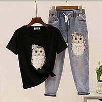 Женский джинсовый костюм с футболкой и джинсами с аппликацией 79mko1049, фото 1