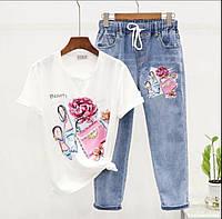 Женский костюм джинсы и футболка с аппликацией 79mko1050, фото 1