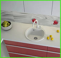 Кухонная круглая гранитная мойка Aqua White / диаметр 490