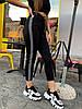 Трикотажные черные женский штаны спортивные с контрастными лампасами 78mbl499