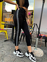 Трикотажные черные женский штаны спортивные с контрастными лампасами 78mbl499, фото 1