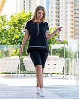 Женский летний костюм в больших размерах с удлиненной футболкой и велосипедками 83mbr742, фото 1