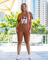 Летний женский спортивный костюм в больших размерах с шортами и удлиненной футболкой 83mbr745, фото 1