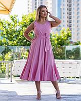 Літній коттоновое сукню у великих розмірах з пишною спідницею і воланом, на талії пояс 83mbr746