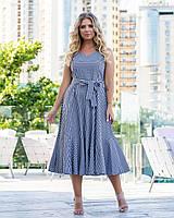 Літнє жіноче плаття в клітку у великих розмірах з розкльошеною спідницею міді і без рукава 83mbr747