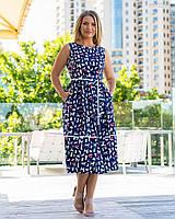 Літній принтована сукня з котону у великих розмірах без рукава з спідницею-тюльпан 83mbr748