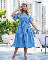 Смугасте коттоновое сукня А-силуету в великих розмірах з розкльошені рукавом 83mbr749