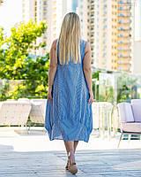 Смугасте літнє плаття у великих розмірах з льону без рукава з квадратним вирізом 83mbr751