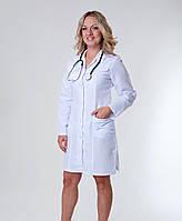 """Медицинский халат женский """"Health Life"""" габардин белый 1123"""