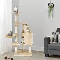 Когтеточка домик Бафи 118см бежевый цвет Драпка Домик для кота