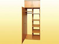 Шкаф для одежды и книг, полузакрытый, 1-дверный, с антресолью - 802х519х2186 мм.