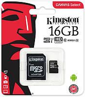 Карта памяти Kingston microSDHC Class 10 16GB + адаптер R0630, КОД: 1637552