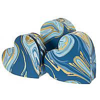 """Подарочные коробки в форме сердца """"Золото с синим"""" 3 шт в наборе (можно поштучно), фото 1"""