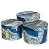 """Круглые подарочные коробки для упаковки """"Синяя акварель"""" набор 3шт."""