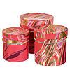 """Круглые подарочные коробки для упаковки цветов и подарков """"Красные переливы"""" набор 3шт."""