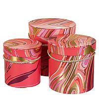 """Круглые подарочные коробки для упаковки цветов и подарков """"Красные переливы"""" набор 3шт., фото 1"""
