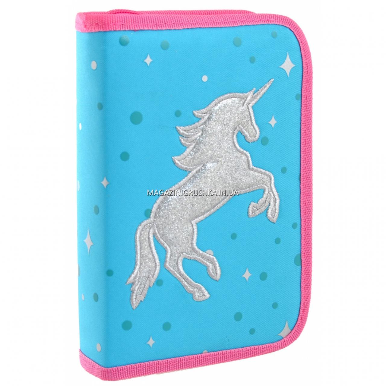 Пенал твердый YES одинарный без клапана HP-02 Unicorn голубой (532558)