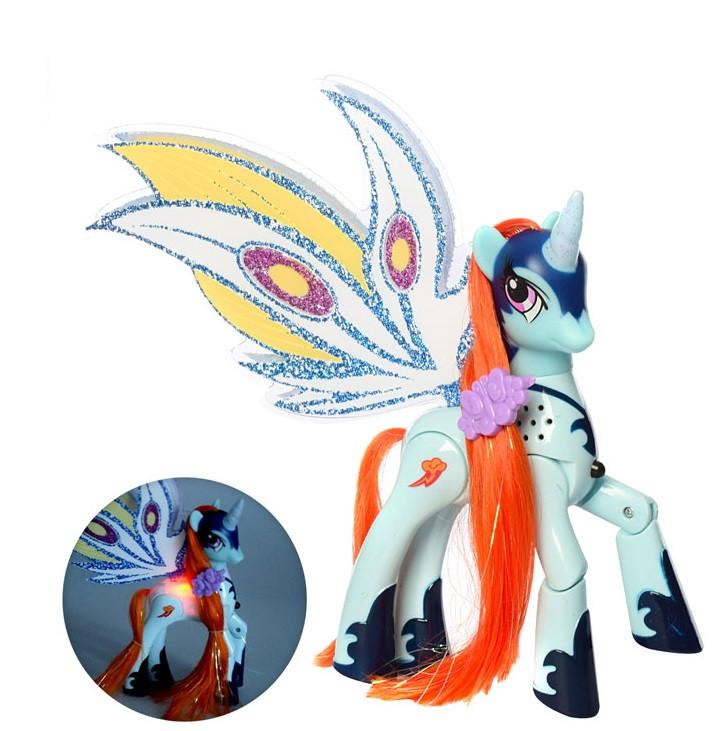 Лошадка Пони Единорог светящаяся со звуком, 17 см