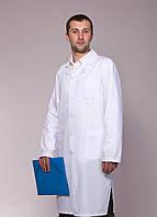 """Распродажа Медицинский халат мужской 44, 48, 52 размер """"Health Life"""" х/б белый 2116"""