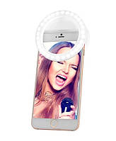 🔝 Светодиодное кольцо для селфи, подсветка на телефон, Selfie Ring XJ-01, селфи лампа, цвет - белый | 🎁%🚚