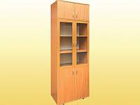 Шкаф книжный со стеклянными дверцами, с антресолью, 802х403х2186 мм.