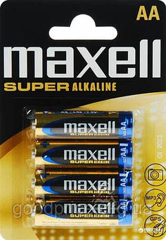Батарейка щелочная Maxell Super Alkaline AA (LR06) blister 4 шт. Для металлоискателя Пират ТЛ
