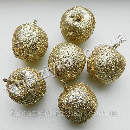 Яблоко блестящее золотое 35мм, новогодний декор