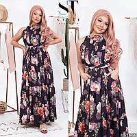 Платье в пол цветочный Принт с карманами ткань софт  размер 42-46,48-52 42/46, черный